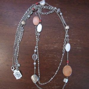 Loft triple layer chain necklace with agate/beads